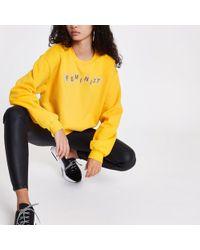 River Island - Yellow 'feminist' Cropped Sweatshirt - Lyst