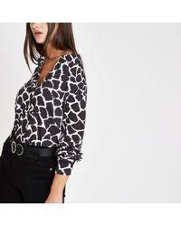 River Island - Giraffe Print Long Sleeve Blouse - Lyst