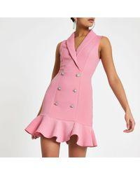 River Island - Diamante Embellished Bodycon Tux Dress - Lyst