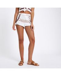 River Island - Cream Aztec Embroidered Beach Shorts - Lyst