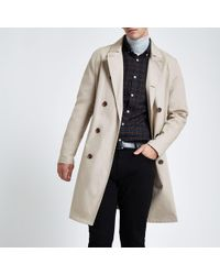 River Island - Double Breasted Smart Mac - Lyst