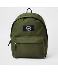 e091490f797 River Island - Hype Khaki Green Embroidered Backpack - Lyst