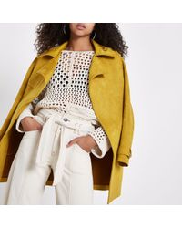 River Island - Yellow Faux Suedette Trench Coat - Lyst