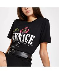 River Island - 'venice' Embellished T-shirt - Lyst