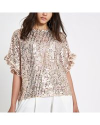 River Island - Cream Sequin Embellished Frill Sleeve Top - Lyst
