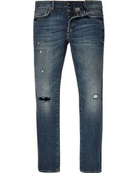 River Island - Mid Blue Wash Sid Cigarette Skinny Jeans - Lyst