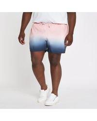 River Island - Big And Tall Pink And Blue Dip Dye Swim Short - Lyst