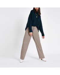 River Island - Check D-ring Wide Leg Trousers - Lyst