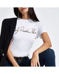 River Island - White 'only Positive Vibes' Fitted T-shirt - Lyst