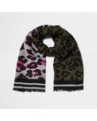 River Island - Khaki And Pink Leopard Scarf - Lyst