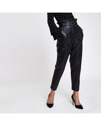 River Island - Faux Leather Paper Bag Waist Trousers - Lyst