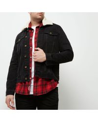 River Island - Big And Tall Black Borg Collar Denim Jacket - Lyst