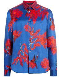 Roberto Cavalli - Opium Snake Floral Print Satin Shirt - Lyst