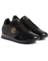 Roberto Cavalli - Snake Logo Leather Sneakers - Lyst