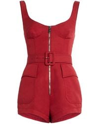 Roberto Cavalli - Red Belted Zipped Playsuit - Lyst
