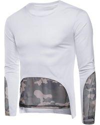 Rosegal - Mesh Camouflage Hem Patchwork Low High T-shirt - Lyst