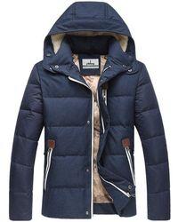Rosegal Zip Pocket Elbow Patch Flocking Hooded Down Jacket - Blue