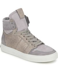 13316714a67a Hogan Rebel 90mm Metallic Leather Wedge Sneakers in Gray - Lyst