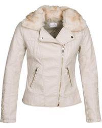 Guess - Ottavia Women's Leather Jacket In Beige - Lyst