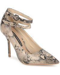 4c72c2746d5 French Connection Efayla Mixed Media Point Toe Kitten Heel Pumps in ...