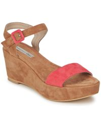 ef9d1ad1f172bd Clarks Lucia Coral Leather Wedge Sandals in Brown - Lyst