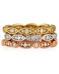 Diana M. Jewels - . Fine Jewelry 18k Tri-tone Set Of Three 0.90 Ct. Tw. Diamond Eternity Rings - Lyst