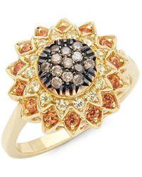 Roberto Coin - Black Diamond, Yellow Sapphire And 18k Ring - Lyst