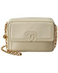 Chanel - Cream Caviar Leather Medium Camera Bag - Lyst