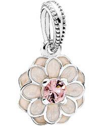 PANDORA - Silver Crystal & Enamel Dangle Charm - Lyst