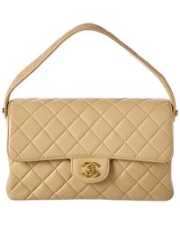 Chanel - Beige Quilted Lambskin Leather Medium Double Sided Single Flap Bag - Lyst