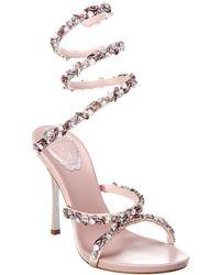 Rene Caovilla Cleo Maxi Strass 105 Satin Sandal - Pink