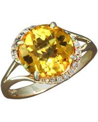 Effy - Fine Jewelry 14k 3.28 Ct. Tw. Diamond & Citrine Ring - Lyst