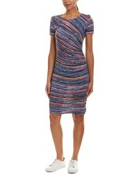 Three Dots - Ruched Wool-blend Midi Dress - Lyst