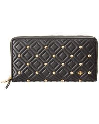 Tory Burch - Fleming Stud Zip Leather Continental Wallet - Lyst
