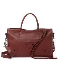Balenciaga Blackout City Small Leather Shoulder Bag - Brown