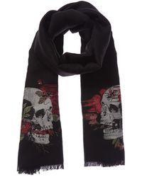 Alexander McQueen Floral Skull Motif Wool-blend Scarf - Black