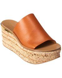 Chloé - Camille Leather Platform Wedge Sandal - Lyst