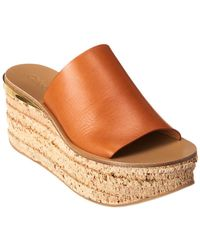Chloé - Camille Leather Wedge Sandal - Lyst