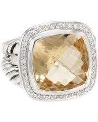 David Yurman - David Yurman Albion Silver 0.34 Ct. Tw. Diamond & Citrine Ring - Lyst