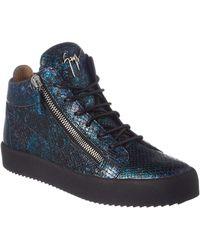 99b2bf3c0 On sale Giuseppe Zanotti - Snake Embossed Leather Sneaker - Lyst