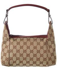 47289e519f8 Gucci - Brown GG Canvas   Leather Hobo Bag - Lyst