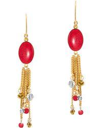 Gottex - 18k Plated Coral & Crystal Linear Beaded Chain Tassel Drop Earrings - Lyst
