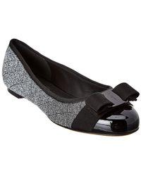 Ferragamo - Quilted Vara Bow Glitter & Patent Ballet Flat - Lyst