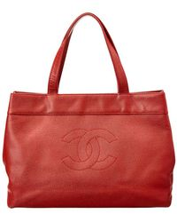 Chanel - Red Caviar Leather Large Tote - Lyst