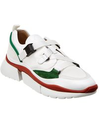 Chloé - Low-top Trainers Sonnie Calfskin Elastane Nylon Polyester Green White - Lyst