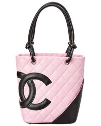 Chanel - Pre-owned Cambon Pink Leather Handbags - Lyst