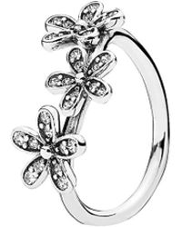 PANDORA - Dazzling Daisies Silver Cz Stackable Ring - Lyst