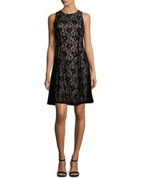 Maggy London - Velvet Lace A-line Dress - Lyst