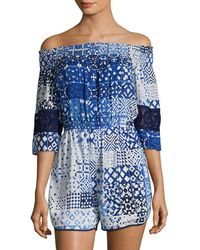 Plenty by Tracy Reese - Off-the-shoulder Graphic Romper - Lyst
