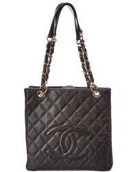 58bd528ea7b Chanel - Black Quilted Caviar Leather Petite Shopper Tote - Lyst